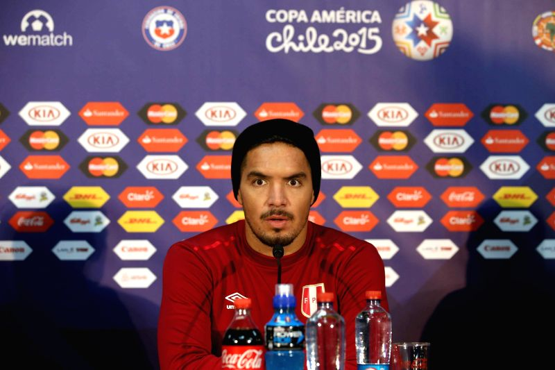 Peruvian national soccer team player Juan Vargas during the press conference after a training of the team held in Temuco, Chile, 22 June 2015. Peru will face Bolivia in the Copa America 2015 ...