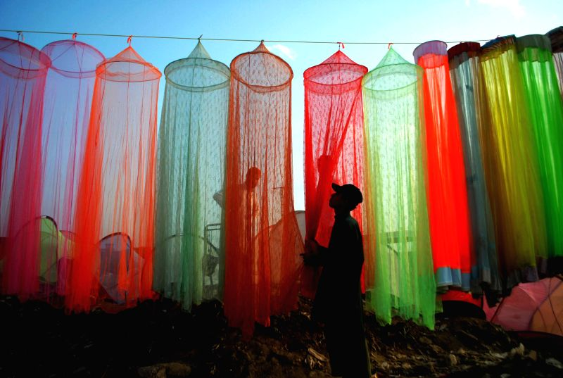 A Pakistani vendor organizes mosquito nets to attract customers outside his shop, in northwest Pakistan's Peshawar on April 19, 2015. The medical experts have ...