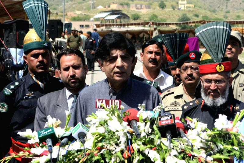 Pakistani Interior Minister Chaudhry Nisar Ali Khan (C) addresses a graduation ceremony of Frontier Corps cadets in northwest Pakistan's Peshawar, April 24, 2015. ... - Chaudhry Nisar Ali Khan