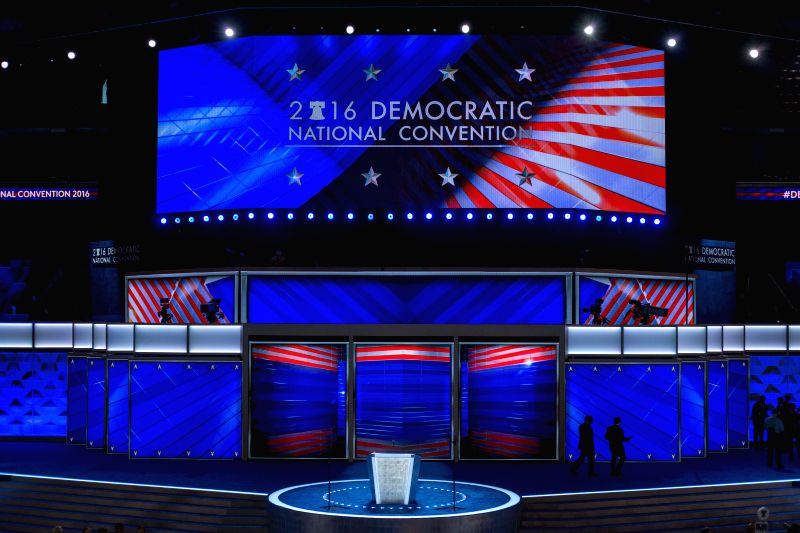 PHILADELPHIA, July 25, 2016 - Photo taken on July 25, 2016 shows the interior of Wells Fargo Center, where the 2016 U.S. Democratic National Convention will be held in Philadelphia, the United ...