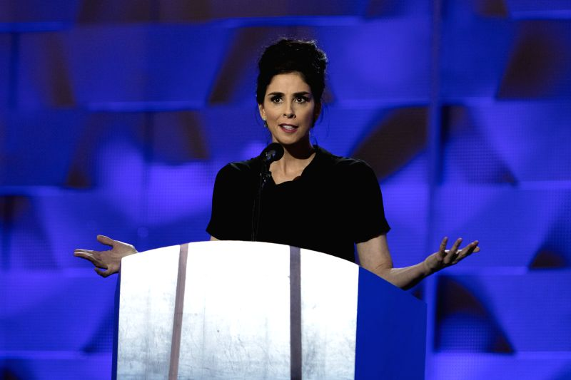 PHILADELPHIA, July 26, 2016 - Actress Sarah Silverman speaks during the 2016 U.S. Democratic National Convention at Wells Fargo Center, Philadelphia, Pennsylvania, the United States, on July 25, ... - Sarah Silverman