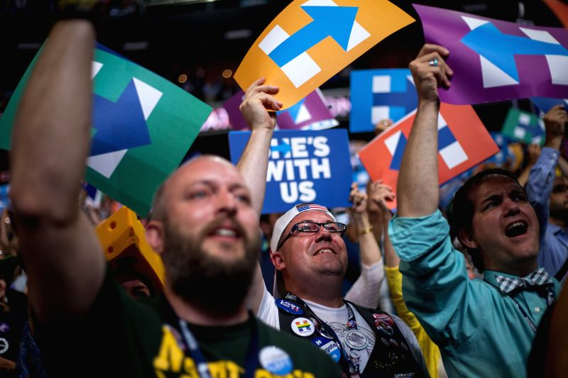 PHILADELPHIA, July 26, 2016 - Supporters celebrate after Hillary Clinton was formally nominated for presidential candidate at the 2016 Democratic National Convention in Philadelphia, Pennsylvania, ...