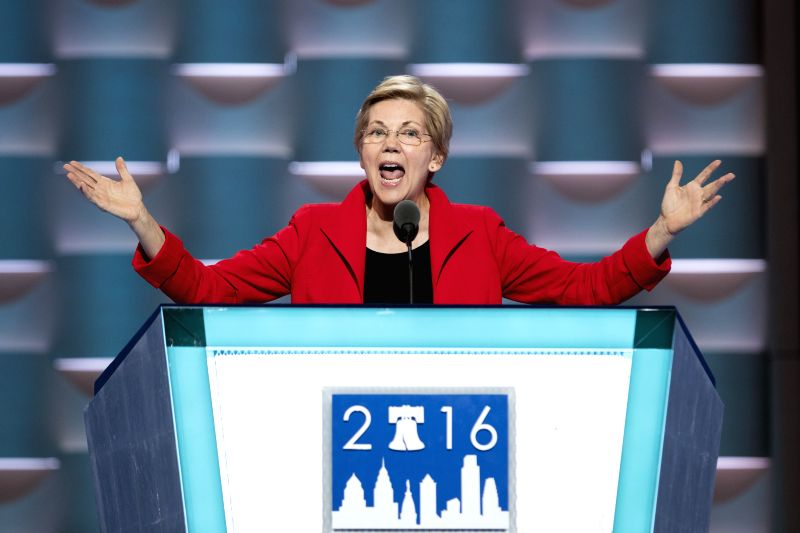 PHILADELPHIA, July 26, 2016 - U.S. Senator Elizabeth Warren addresses the 2016 U.S. Democratic National Convention at Wells Fargo Center, Philadelphia, Pennsylvania, the United States, on July 25, ...