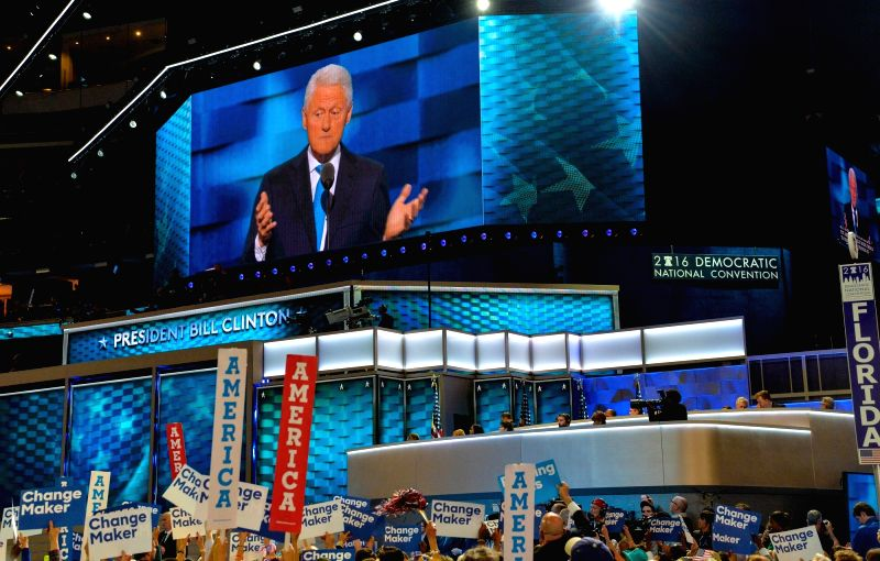 PHILADELPHIA, July 27, 2016 - Former U.S. President Bill Clinton speaks on the second day of the 2016 Democratic National Convention in Philadelphia, Pennsylvania, the United States, July 26, 2016.