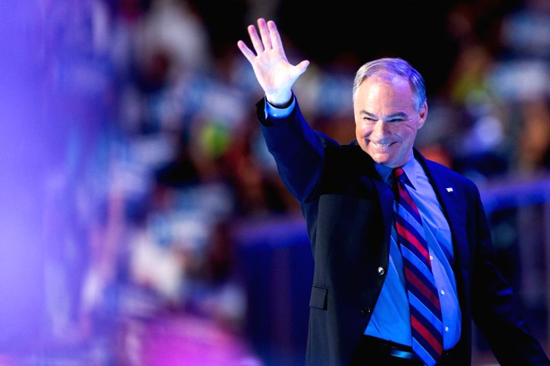 PHILADELPHIA, July 28, 2016 - U.S. Democratic Nominee for Vice President Tim Kaine takes the stage on the third day of the 2016 Democratic National Convention in Philadelphia, Pennsylvania, the ...