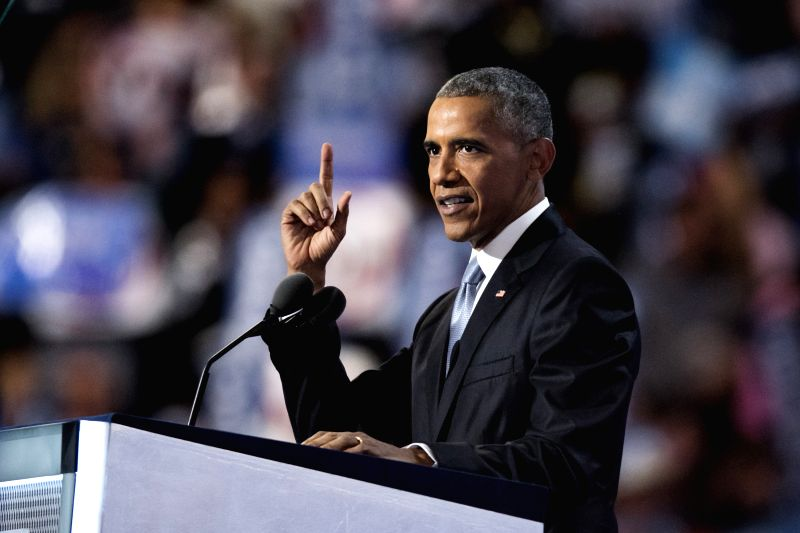 PHILADELPHIA, July 28, 2016 - U.S. President Barack Obama speaks on the third day of the 2016 Democratic National Convention in Philadelphia, Pennsylvania, the United States, July 27, 2016. ...