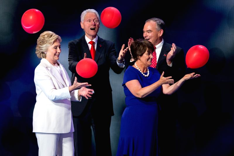 PHILADELPHIA, July 29, 2016 - U.S. Democratic presidential nominee Hillary Clinton(L front), her husband and former U.S. President Bill Clinton (L back), Democratic vice presidential nominee Tim ...