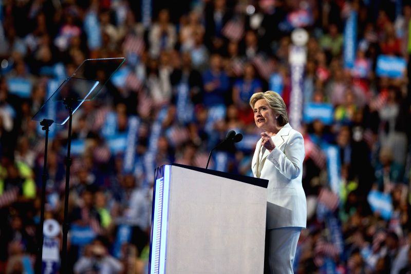PHILADELPHIA, July 29, 2016 - U.S. Democratic presidential nominee Hillary Clinton delivers a speech on the last day of the 2016 U.S. Democratic National Convention at Wells Fargo Center, ...