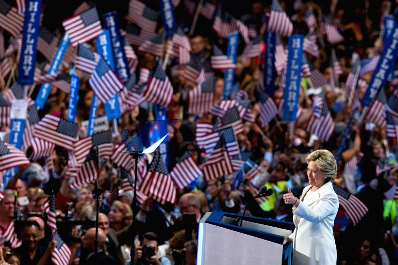 PHILADELPHIA, July 29, 2016 - U.S. Democratic presidential nominee Hillary Clinton gestures to delegates on the last day of the 2016 U.S. Democratic National Convention at Wells Fargo Center, ...