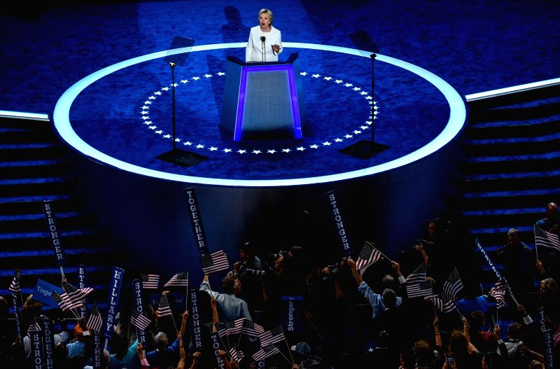 PHILADELPHIA, July 29, 2016 - U.S. Democratic Nominee for President Hillary Clinton speaks on the last day of the 2016 Democratic National Convention in Philadelphia, Pennsylvania, the United States, ...