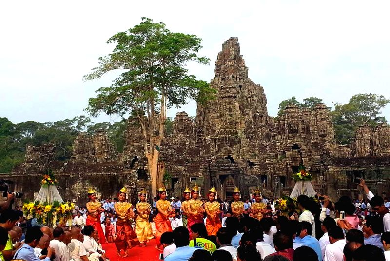 Artists perform blessing dance during the Khmer New Year celebration in Siem Reap province, Cambodia, April 14, 2014. Cambodia on Monday organized an elaborate .