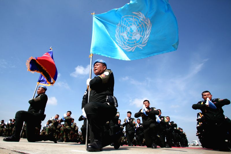 PHNOM PENH, April 25, 2017 - Cambodian peacekeepers take an oath of allegiance before leaving for Mali in Phnom Penh, Cambodia on April 25, 2017. Cambodia sent the fourth batch of 309 troops, ...