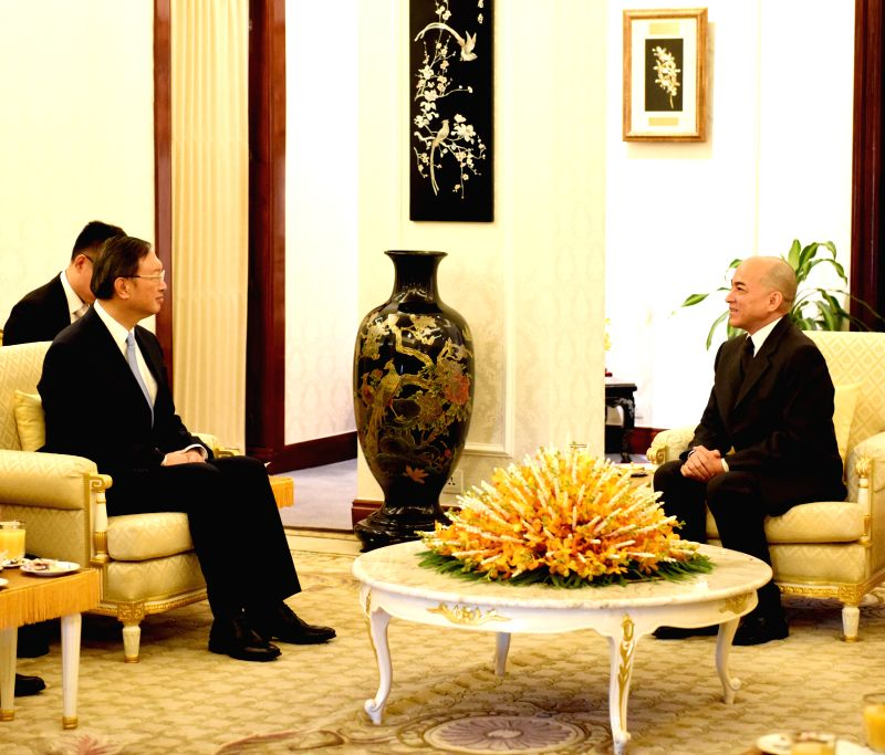PHNOM PENH, April 28, 2017 - Cambodian King Norodom Sihamoni (R) meets with visiting Chinese State Councilor Yang Jiechi in Phnom Penh, Cambodia, on April 28, 2017.