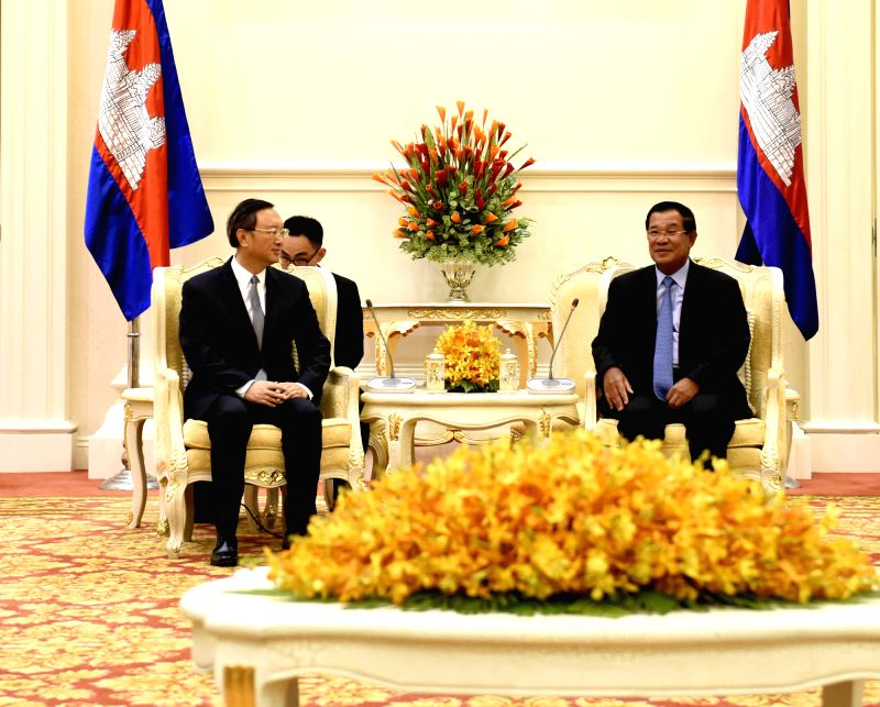 PHNOM PENH, April 28, 2017 - Cambodian Prime Minister Samdech Techo Hun Sen (R) meets with visiting Chinese State Councilor Yang Jiechi in Phnom Penh, Cambodia, on April 28, 2017. - Samdech Techo Hun Sen