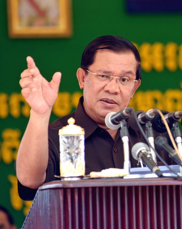 Cambodian Prime Minister Hun Sen speaks during the inauguration ceremony of a palm oil plant in Preah Sihanouk province, Cambodia, April 29, 2015. Hun Sen on ... - Hun Sen