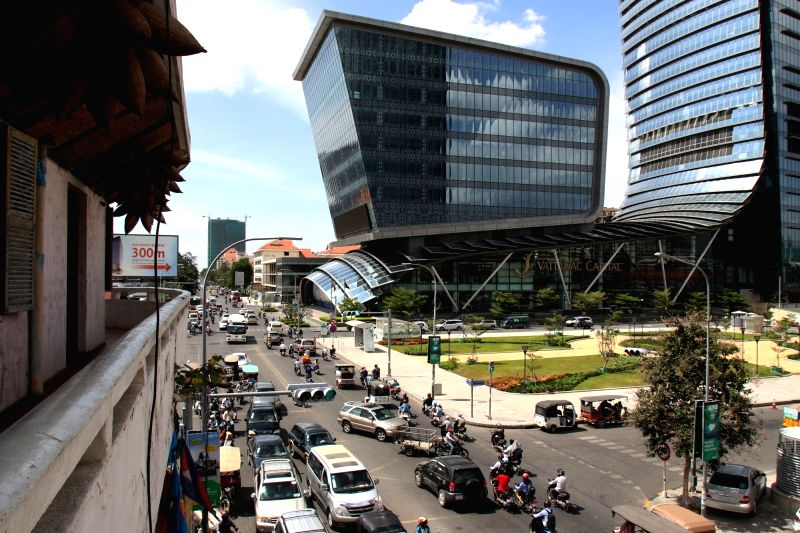 PHNOM PENH, Aug. 1, 2018 - Photo taken on July 31, 2018 shows a view on Monivong Boulevard in Phnom Penh, Cambodia. Life and business activities have returned to normalcy in Cambodia after the ...