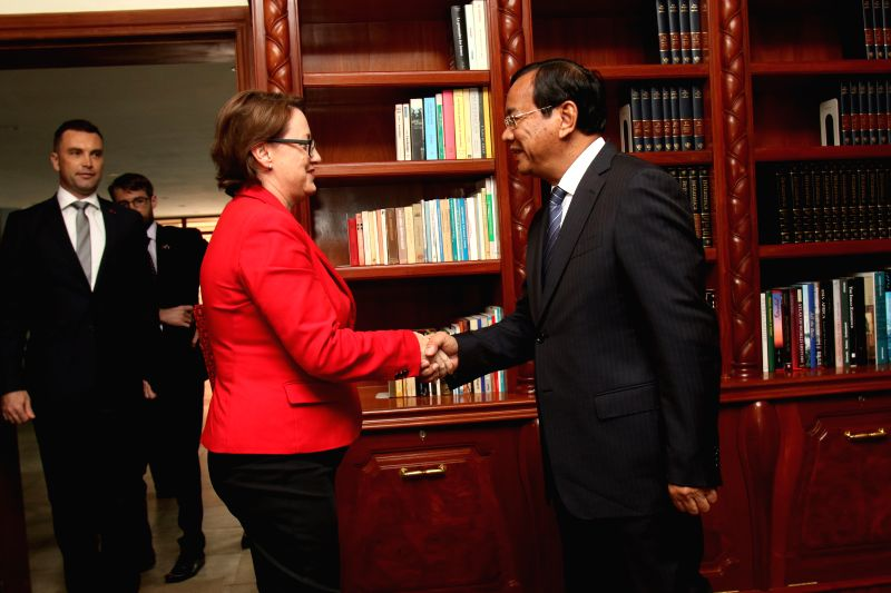PHNOM PENH, Aug. 4, 2016 - Cambodian Foreign Minister Prak Sokhonn (R) shakes hands with newly-designated Australian Ambassador to Cambodia Angela Corcoran in Phnom Penh, Cambodia, on Aug. 4, 2016. ... - Prak Sokhonn