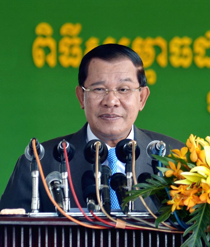 Phnom Penh: Cambodian Prime Minister Hun Sen speaks during the inauguration of a Thai-funded hospital in Phnom Penh, Cambodia, Nov. 18, 2014. Cambodian Prime Minister Hun Sen on Tuesday inaugurated a