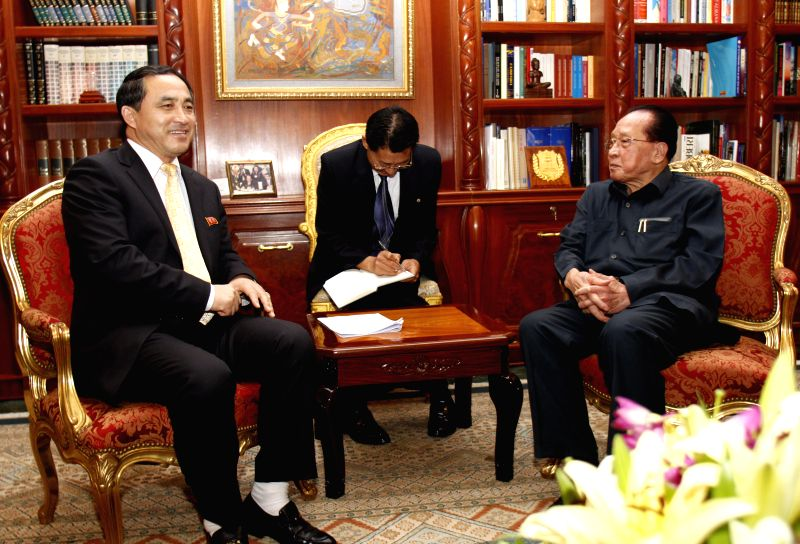 Cambodian Foreign Minister Hor Namhong (R) meets with Vice Foreign Minister of the Democratic People's Republic of Korea (DPRK) Ri Kil Song (L) in Phnom Penh, ... - Hor Namhong
