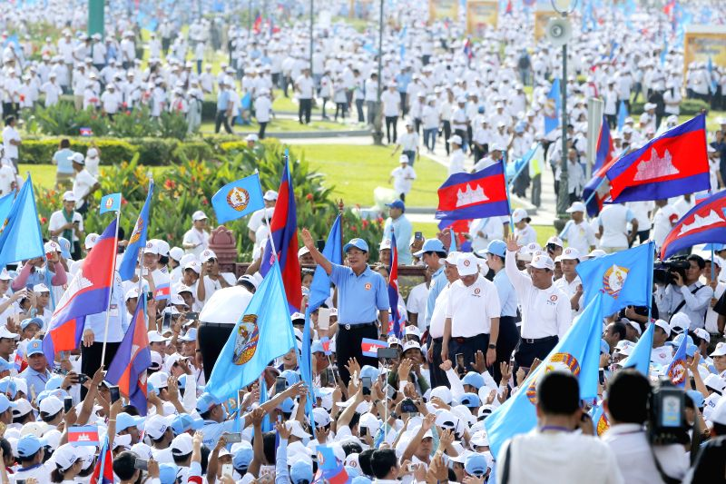 PHNOM PENH, July 27, 2018 - Cambodian Prime Minister Samdech Techo Hun Sen (C) gestures during a massive rally of the ruling Cambodian People's Party (CPP) in Phnom Penh July 27, 2018. Samdech Techo ... - Samdech Techo Hun Sen