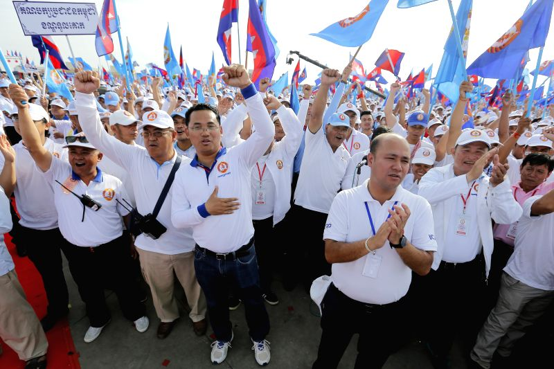PHNOM PENH, July 27, 2018 - Supporters of the ruling Cambodian People's Party (CPP) attend a massive rally of the CPP in Phnom Penh July 27, 2018. Cambodian Prime Minister Samdech Techo Hun Sen, ... - Samdech Techo Hun Sen
