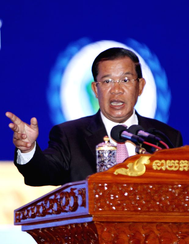 Cambodian Prime Minister Hun Sen speaks in Phnom Penh, Cambodia, July 3, 2014. Hun Sen on Thursday launched a five-year national disability strategic plan ...