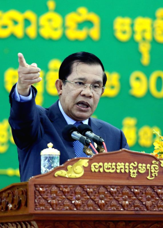 Cambodian Prime Minister Hun Sen speaks at a scholarship awarding ceremony at the University of Cambodia in Phnom Penh, Cambodia, March 19, 2015. Cambodian ...