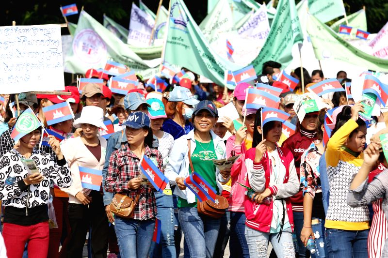 Cambodian workers celebrate International Labor Day in Phnom Penh, Cambodia, May 1, 2015. A few thousands of Cambodian workers on Friday marked the International ...