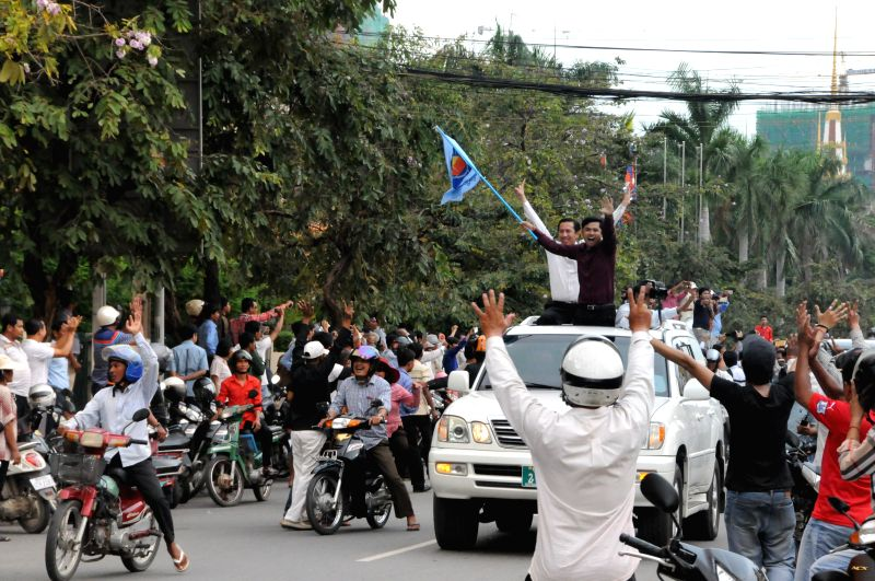 PHNOM PENH, May 30, 2016 - Members of opposition Cambodia National Rescue Party (CNRP) and its supporters march during a protest in Phnom Penh, May 30, 2016. Opposition Cambodia National Rescue Party ...