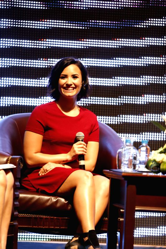 American pop star Demi Lovato speaks in a press briefing in Phnom Penh, Cambodia on May 5, 2015. Demi Lovato performed at the Diamond Island complex in the ...(Image Source: IANS)