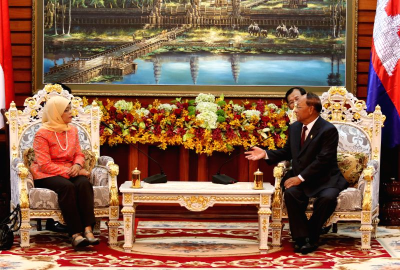 President of the Cambodian National Assembly Heng Samrin (R) meets with Singapore's Speaker of Parliament Halimah Yacob in Phnom Penh May 7, 2015. Halimah Yacob ...