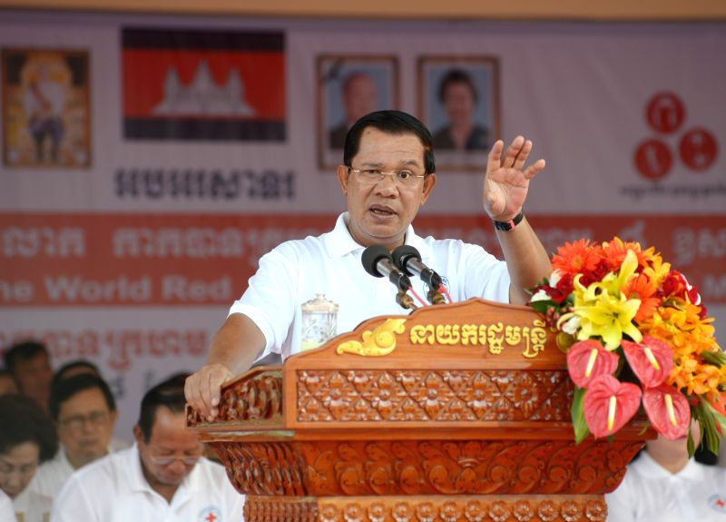 Cambodian Prime Minister Hun Sen speaks during a celebration of the 151st anniversary of the World Red Cross and Red Crescent Day in Phnom Penh, Cambodia, May 8, .. - Hun Sen