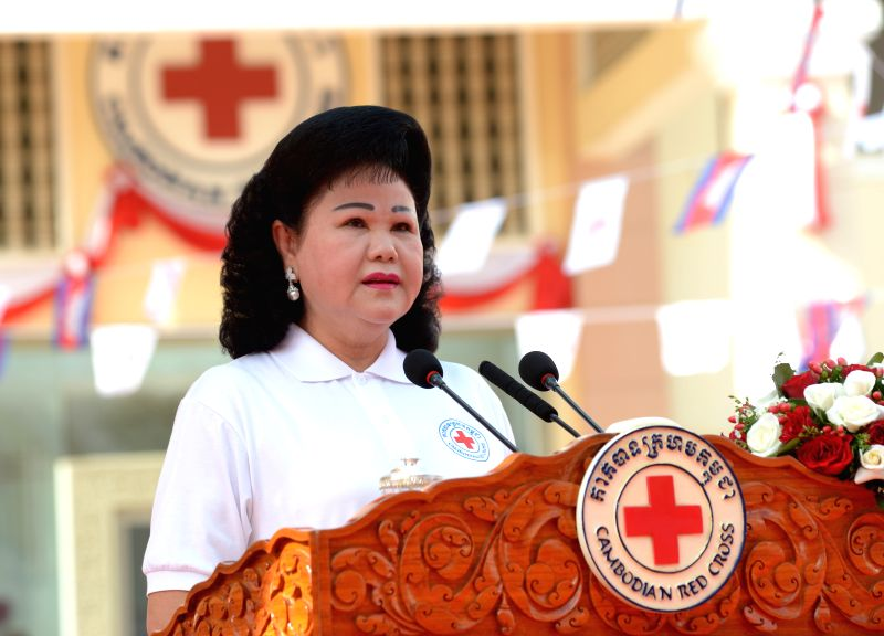 President of the Cambodian Red Cross (CRC) Bun Rany speaks during a celebration of the 151st anniversary of the World Red Cross and Red Crescent Day in Phnom Penh,