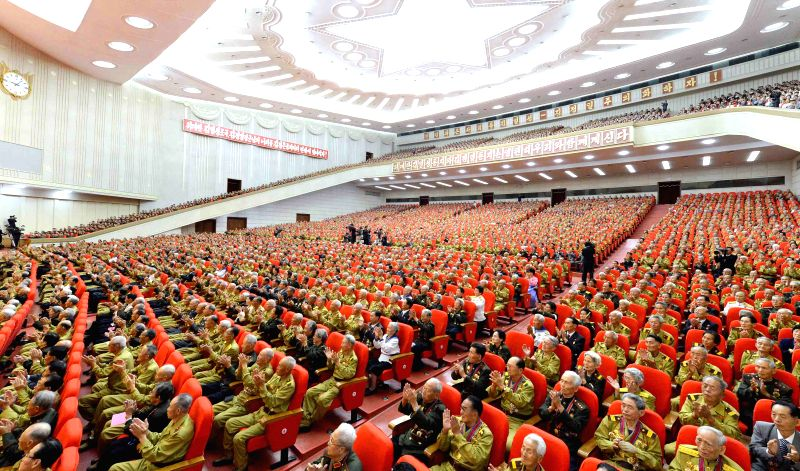 Photo provided by Korean Central News Agency (KCNA) on July 26, 2015 shows the 4th National Conference of War Veterans being held in Pyongyang on July 25, 2015. ...