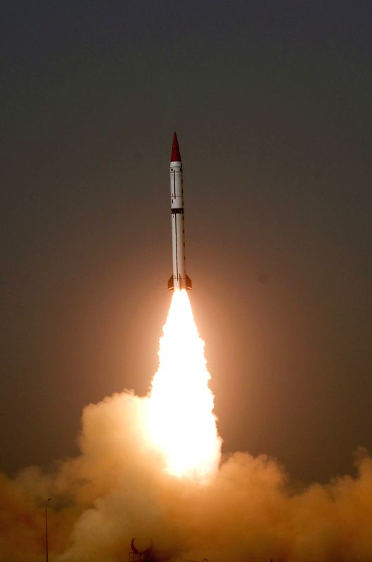 Photo released by Pakistan's Inter Services Public Relations (ISPR) on Dec. 11, 2015 shows a Shaheen III surface-to-surface ballistic missile being launched from ...