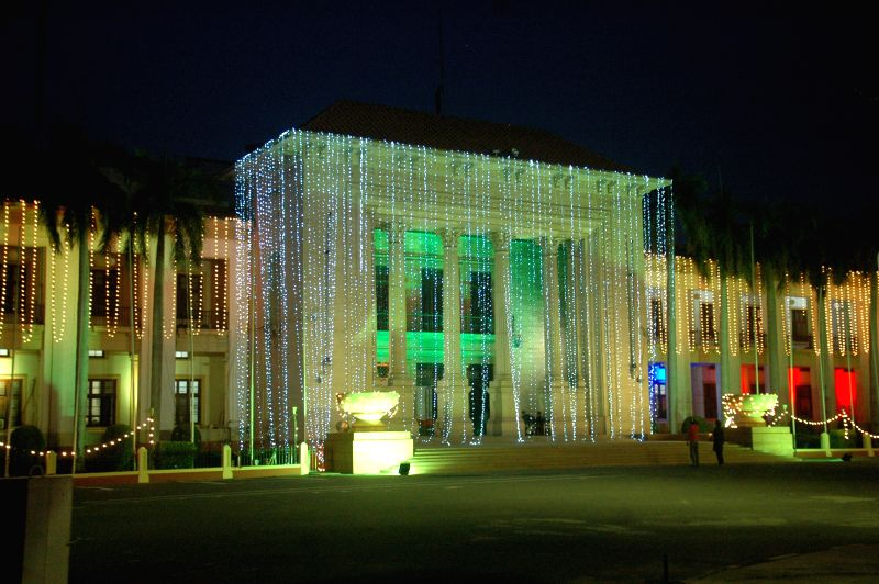 Photo taken on Aug. 12, 2015, shows an illuminated building ahead of the country's Independence Day in eastern Pakistan's Lahore. Pakistan will celebrate its ...