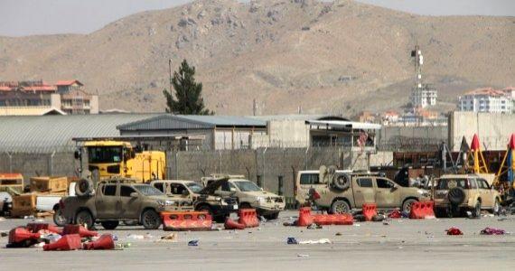 Photo taken on Aug. 31, 2021 shows military vehicles at Kabul airport in Kabul, capital of Afghanistan. (Photo by Saifurahman Safi/Xinhua/IANS)