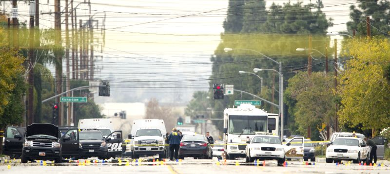 Photo taken on Dec. 4, 2015 shows the E San Bernardino Ave where the attackers were shot dead and which is still closed by local police department, in San ...