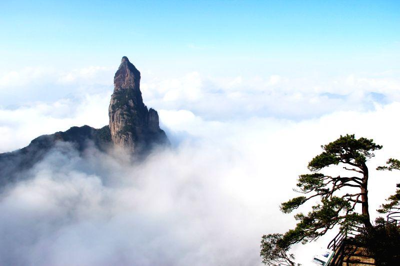 Photo taken on Dec. 8, 2015 shows a cloud-shrouded peak in Shenxianju park in Taizhou, east China's Zhejiang Province. (Xinhua/Wang Huabin)