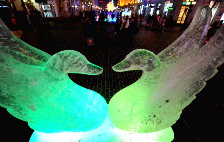 Photo taken on Jan. 2, 2015 shows two ice swans at the Central Street of Harbin, capital of northeast China's Heilongjiang Province. The 31th International Ice and Snow Festival will open on Jan. 5th