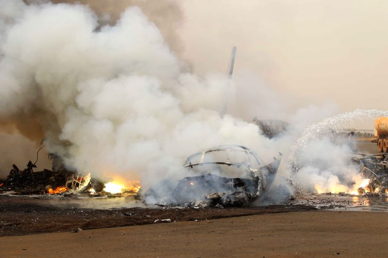 Photo taken on March 20, 2017 shows the crashed aircraft in Wau Airport, South Sudan. A passenger aircraft crashed at South Sudan's Wau Airport and burst into flames ...