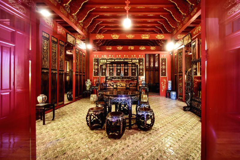 Photo taken on March 29, 2017 shows the furnitures in Phra Thinang Wehart Chamrun, a Chinese style chamber in Bang Pa-In Royal Palace, Changwat ...