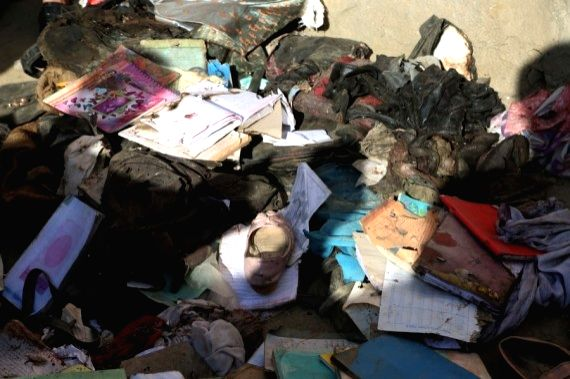 Photo taken on May 9, 2021 shows the belongings of students who were killed in a car bomb attack at the site of an attack in Kabul, capital of Afghanistan. (Photo by Rahmatullah Alizadah/Xinhua/IANS)