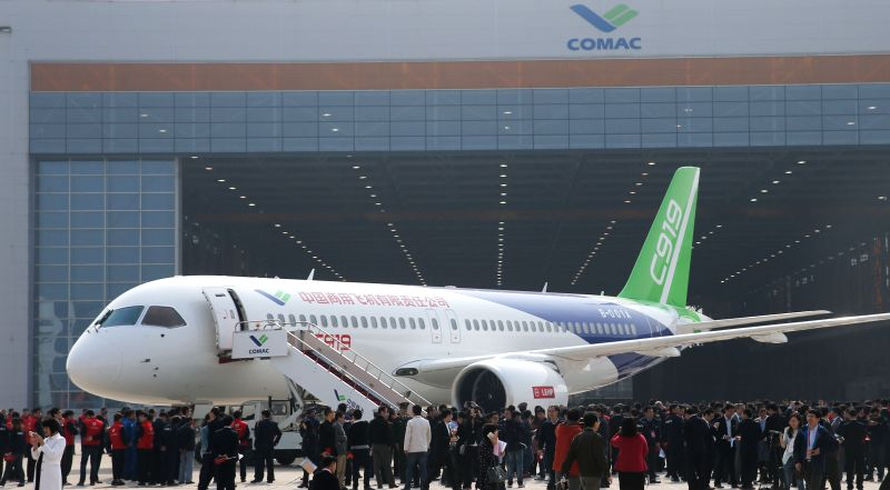 Photo taken on Nov. 2, 2015 shows the C919, China's first homemade large passenger aircraft, at a plant of Commercial Aircraft Corporation of China, Ltd. (COMAC), ...