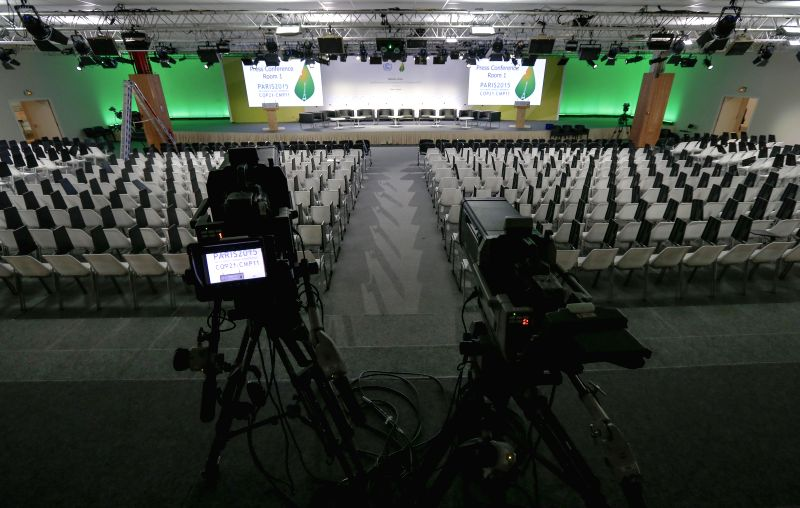 Photo taken on Nov. 29, 2015 shows the Press Conference Hall of Le Bourget where the 2015 United Nations Climate Change Conference (COP 21) will take place in Paris, ...