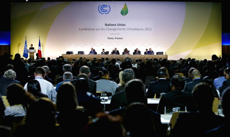Photo taken on Nov. 30, 2015 shows a view of the opening ceremony of the 21st Conference of the Parties to the United Nations Framework Convention on Climate Change ...