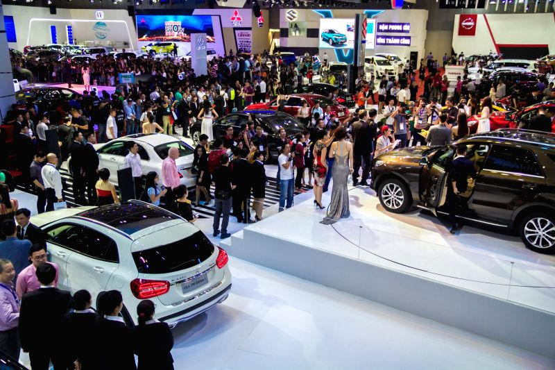 Photo taken on Oct. 28, 2015 shows the site of the Vietnam Motor Show 2015 at Saigon Exhibition and Convention Centre in Ho Chi Minh city, Vietnam. Vietnam ...