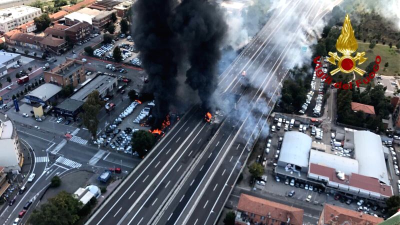 : Photo tweeted by Italian Firefighters Corps on Aug. 6, 2018 shows the explosion site in Bologna, Italy. An oil tanker truck exploded on a ring road on the ...