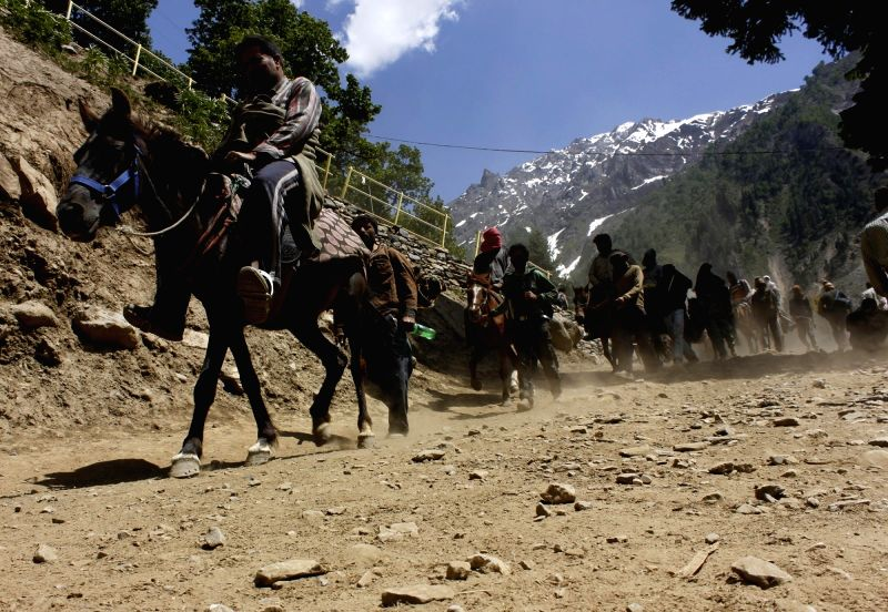 people go on horses to reach the amarnath cave
