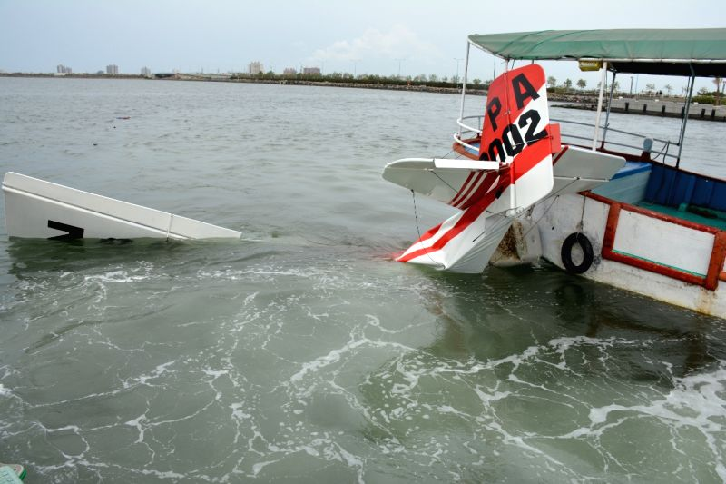 Photo taken on March 16, 2015 shows the site of plane crash in Pingtung County, southeast China's Taiwan. A plane crashed into waters off Taiwan's Pingtung County ...